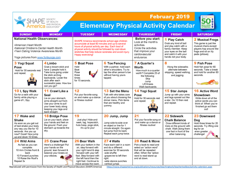 February 2019 Elementary Physical Activity Calendar