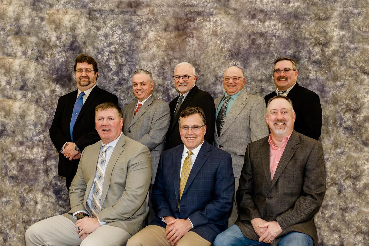 School Board Group Photo: (Top) Marshall Harrison, Shelby Taylor, Brian Lee,Merrill Harp, Richard Crowley (Bottom) Kaj Overstreet, Scott Peeples, Stacy Nelson