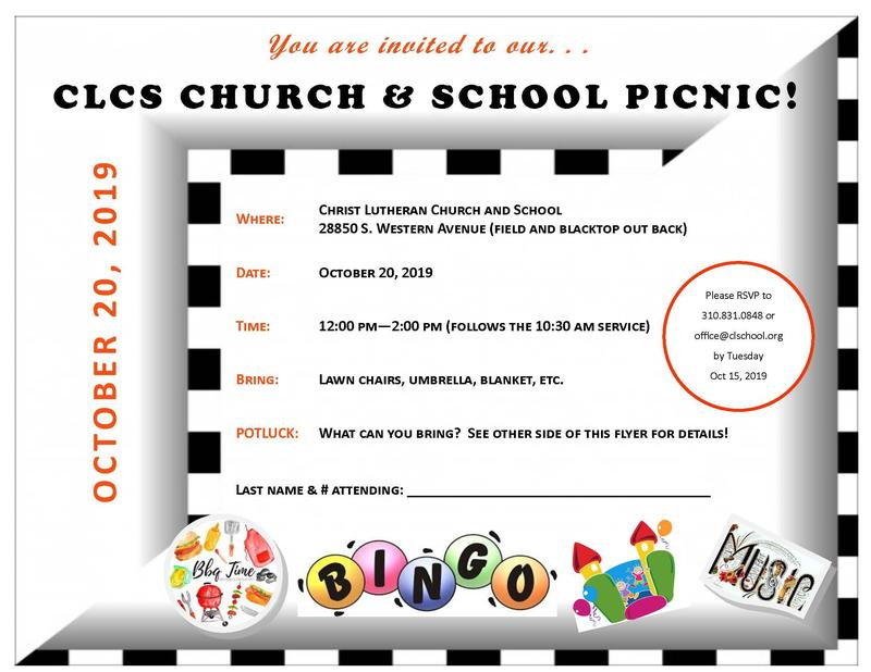 Church & School Picnic Oct. 20th 12:00- 2:00 PM Featured Photo