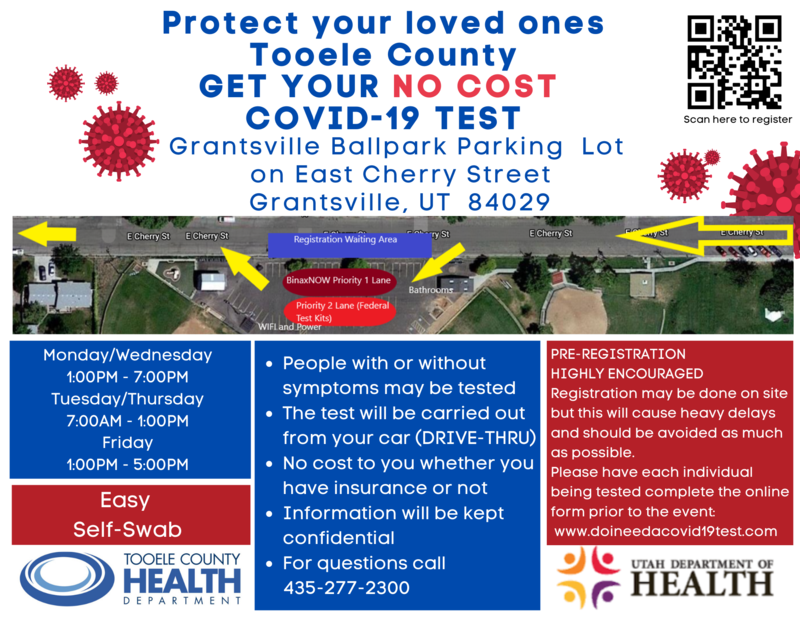 Flyer for No Cost Covid test in Grantsville Utah