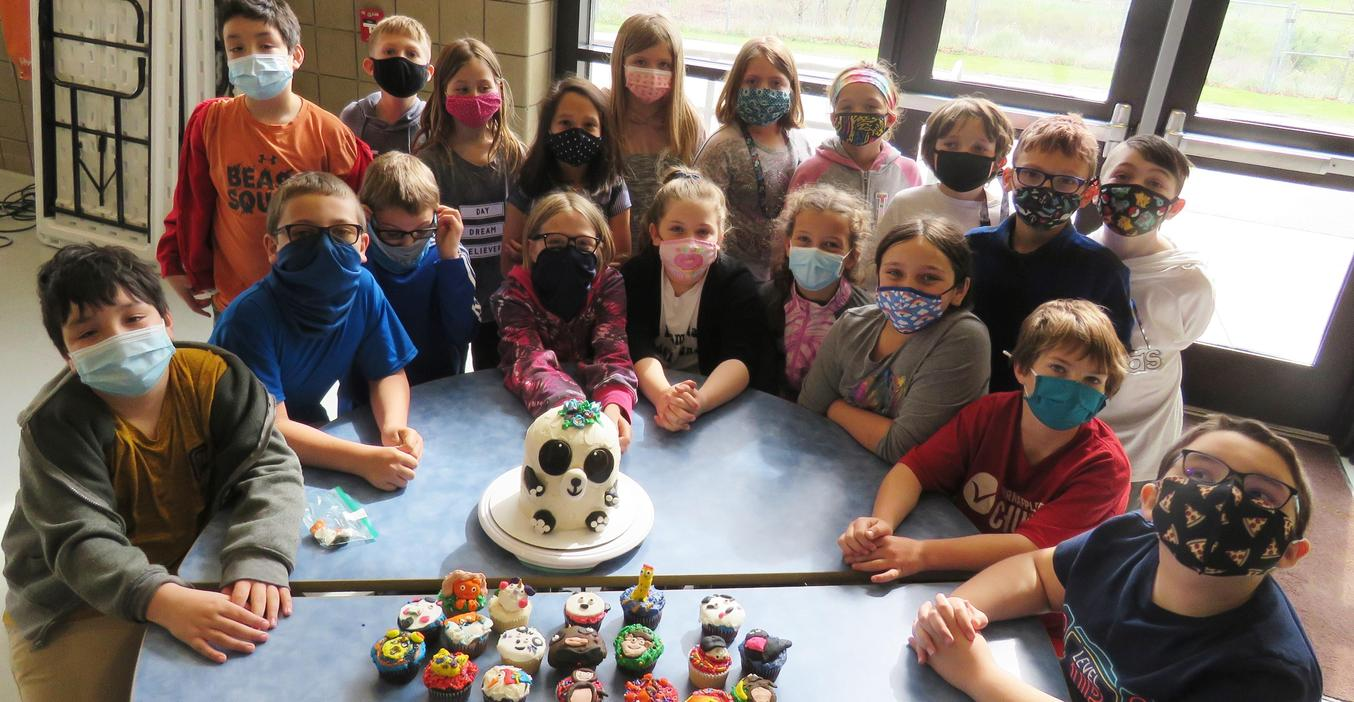 Lee 3rd graders made and decorated cupcakes and a cake as part of an art project.
