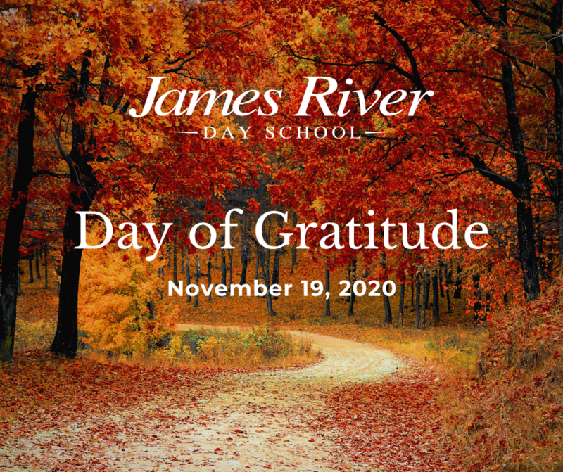 Day of Gratitude graphic of a fall landscape