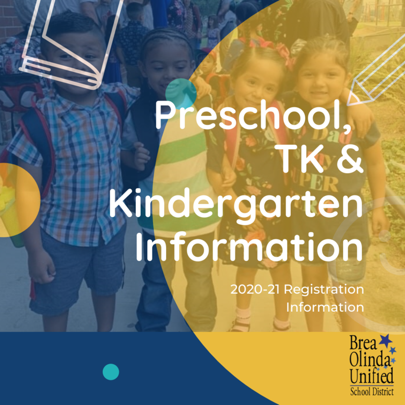 Preschool, TK and Kinder Info