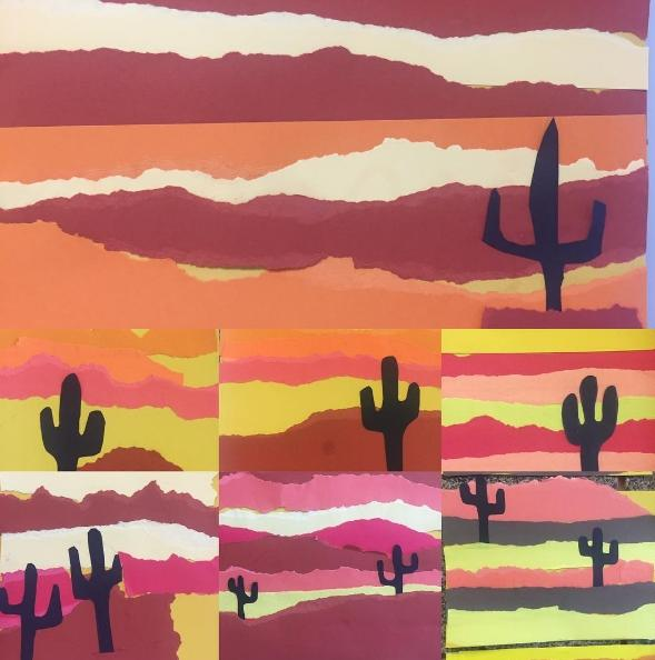 Sunsets created with torn strips of construction paper. Each features a shadowy cactus in the foreground