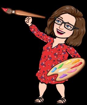 Bitmoji of Mrs. Gulley holding a paint brush