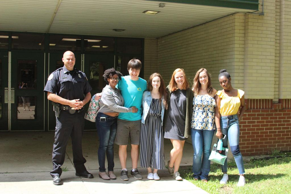 HS Students and Officer Vanatta outside on the 1st day.