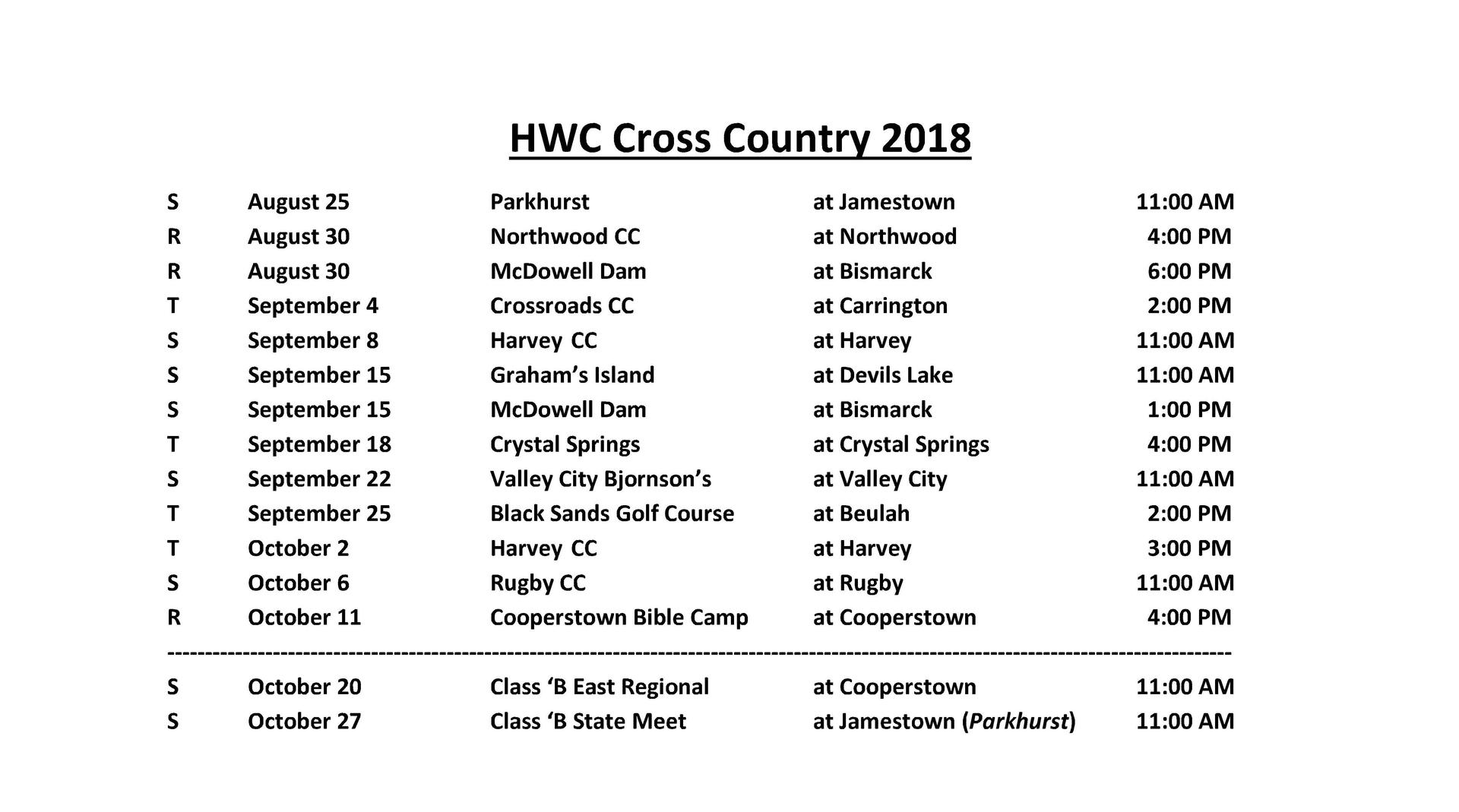 2018-2019 Cross Country Schedule