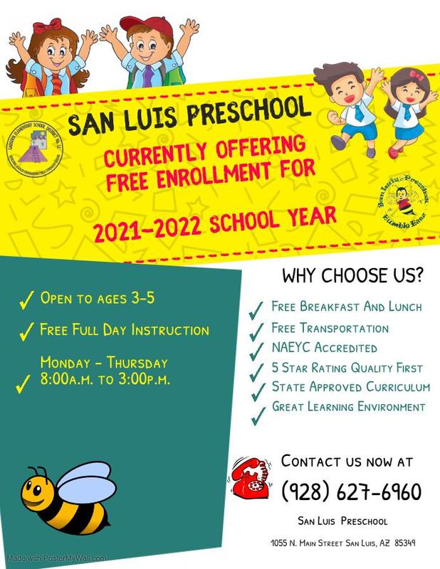 San Luis Preschool Enrollment for 2021-2022 School Year Featured Photo