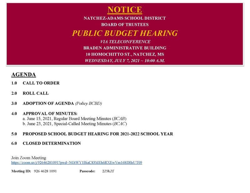 Public Hearing Agenda NASD