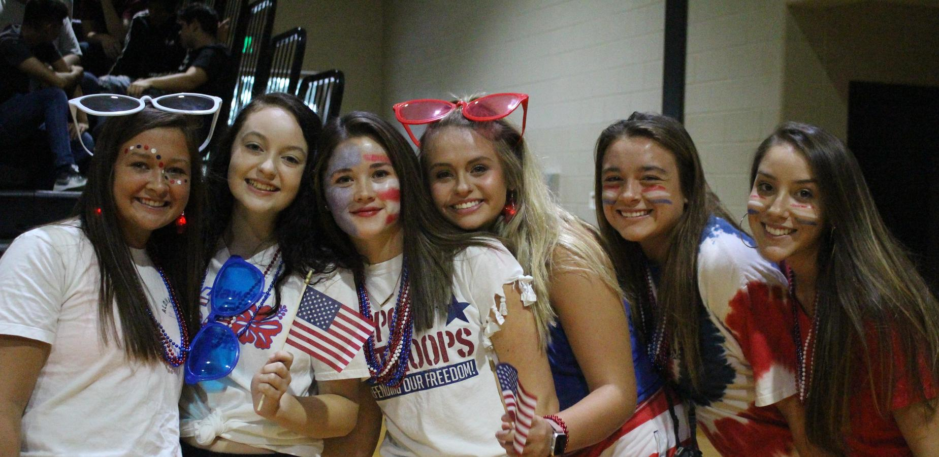Students dressed in red, white, and blue for American Monday.