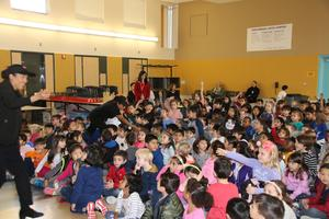 Students participating in the Panda Express Chinese New Year assembly