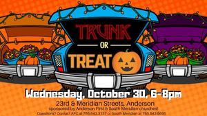 car with trunk open giving information about trunk or treat event