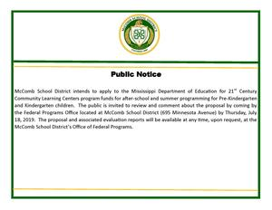 Public notice for 21st Century comments