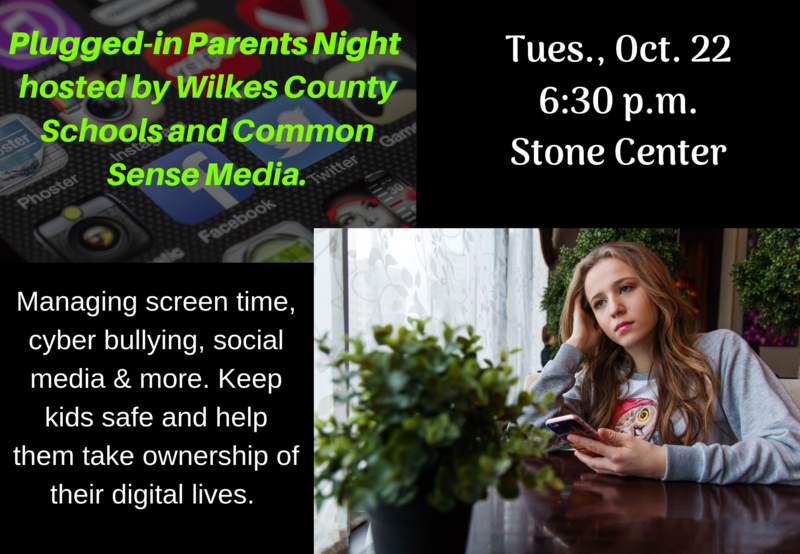 Girl with cell phone. Plugged-in Parents Night at the Stone Center, Oct. 22, at 6:30.