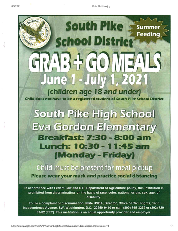 Grab and Go Meals June 1- July 1, 2021 Featured Photo