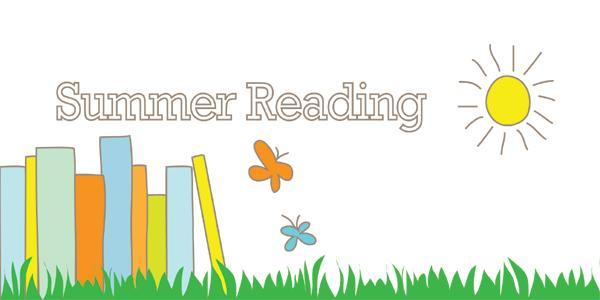 Summer Reading text with green grass and books in the background