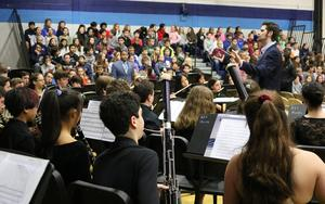 The Roosevelt Intermediate School 8th Grade Band, under the direction of James Doyle, performs patriotic tunes at the school's 20th Annual Veterans Day Honor Ceremony on Nov. 12.
