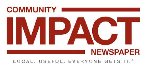 logo of Community Impact Newspaper with the words in maroon block font.