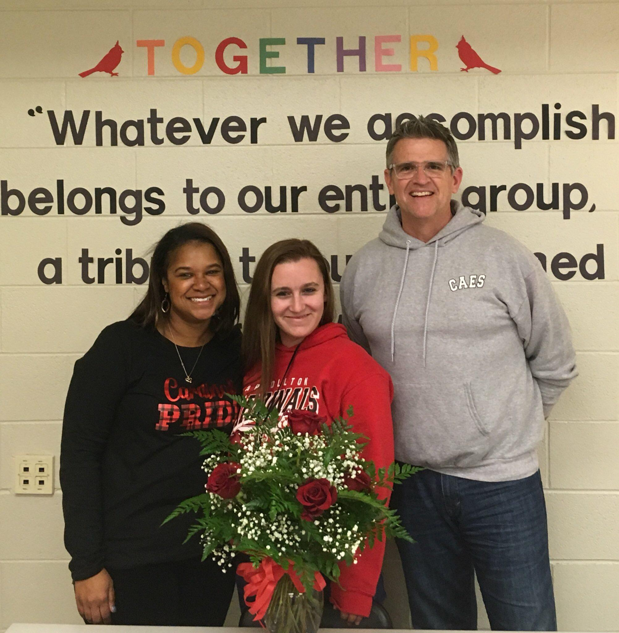 Mr. Brennan and Mrs. Buggs with teacher of the year Mrs. Chappell
