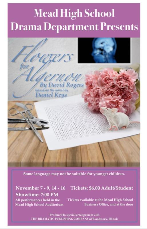 Come see our fall production, Flowers for Algernon