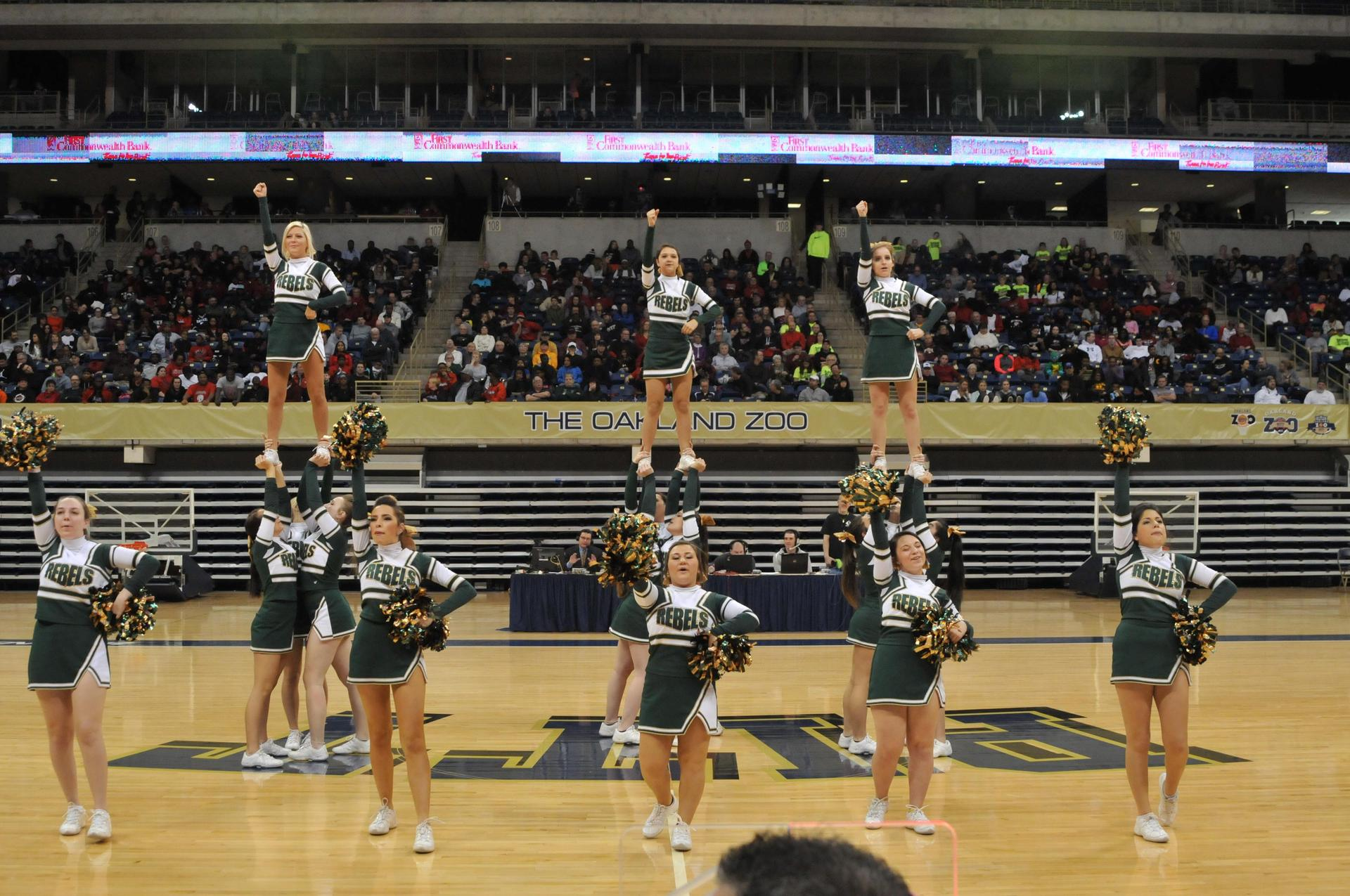 Cheerleaders in action at basketball game