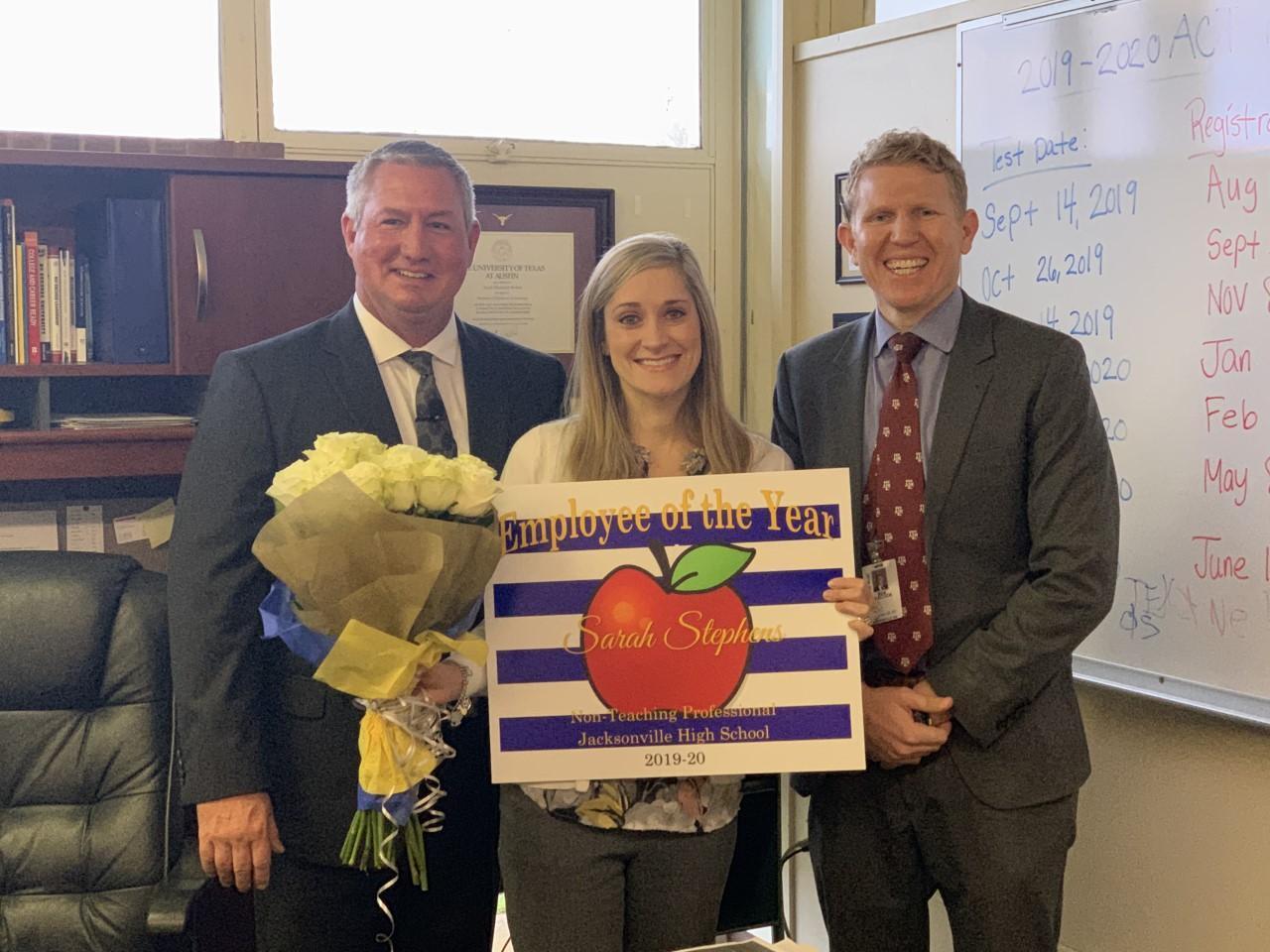 sarah stephens with superintendent and principal