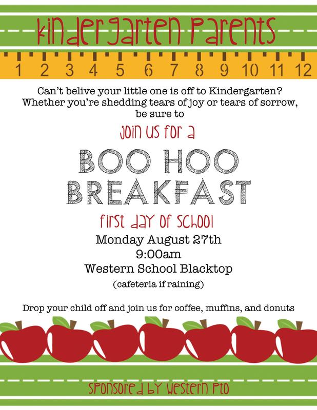 Invitation for Kindergarten parents to have breakfast with one another after the children enter the building.