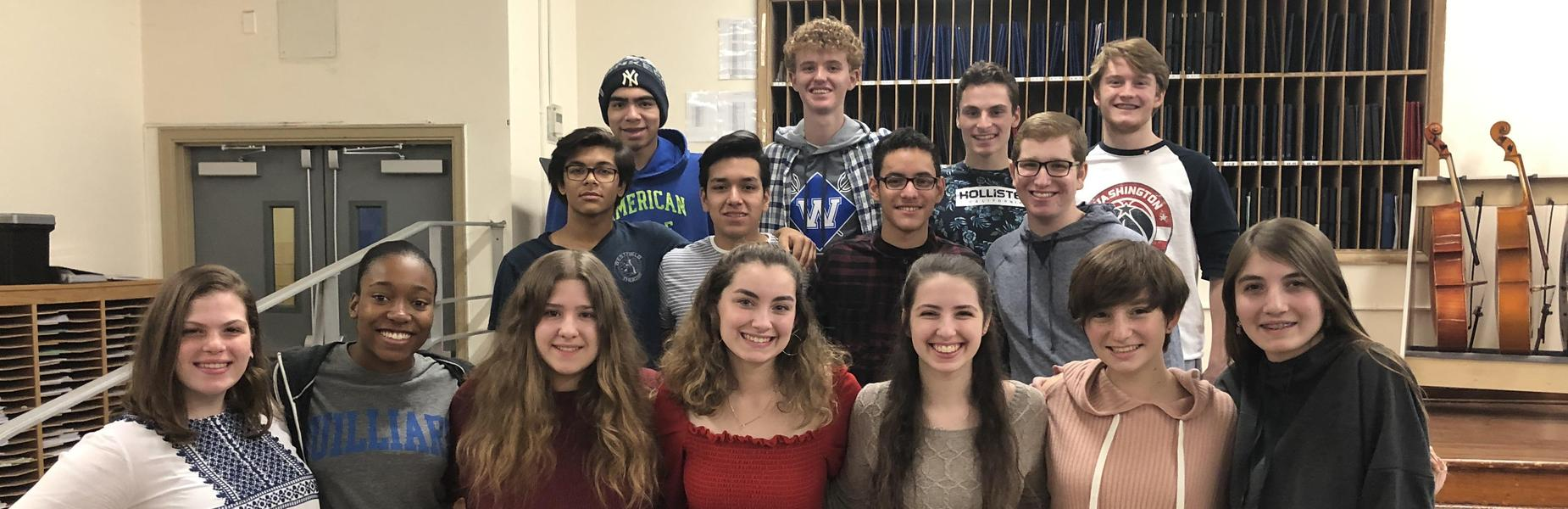15 Westfield High School student vocalists will perform with a Central Jersey chorus in January.  The 15 are pictured here, posing for a picture.