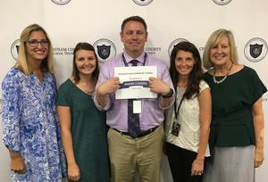 Assistant Director of Schools Stacy Brinkley, PVES teacher Ashley Hawkins, PVES principal Jason Pierschbacher, PVES academic specialist Nicole Galbreth and Director of Schools Dr. Cathy Beck.