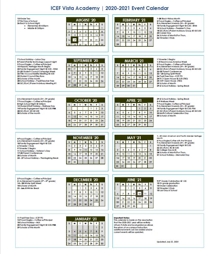 2020-2021 Event Calendar