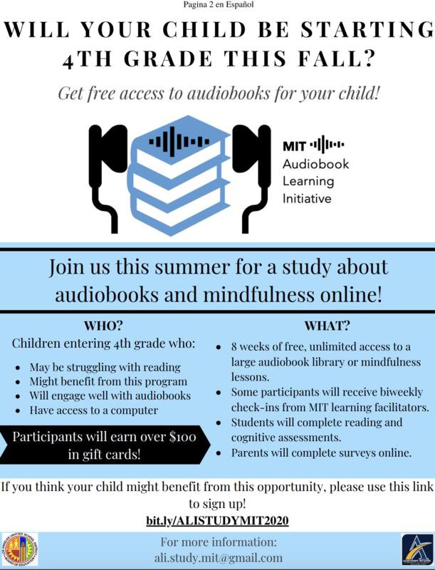 Audiobook Learning Initiative study/la Iniciativa de aprendizaje de audiolibros este verano Thumbnail Image