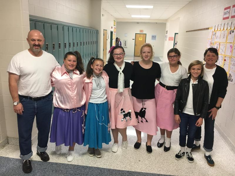 Students and staff members at B-L Middle School dressed up in 1950s-era fashions for Decades Day on Tuesday, October 29th.  Such theme days were part of Red Ribbon Week efforts in Lexington County School District Three.