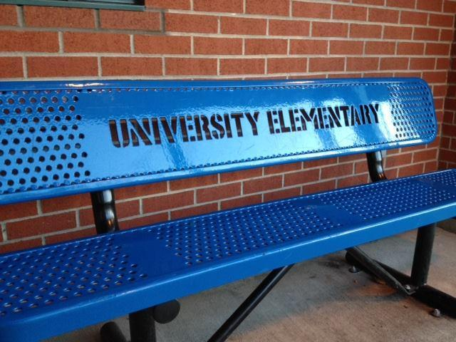 bench in front of schoool