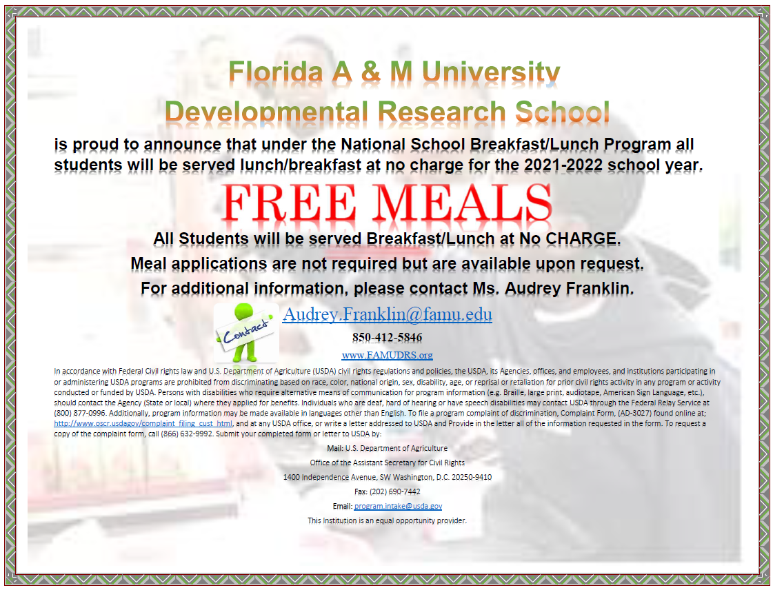 Free Meals _ Cafeteria _ Website Poster _ 2021-22