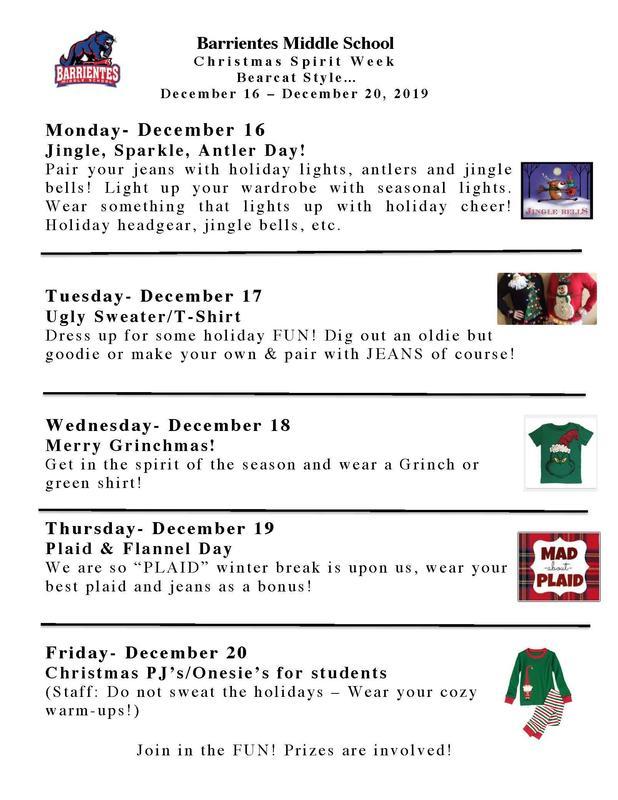 Christmas spirit week flyer