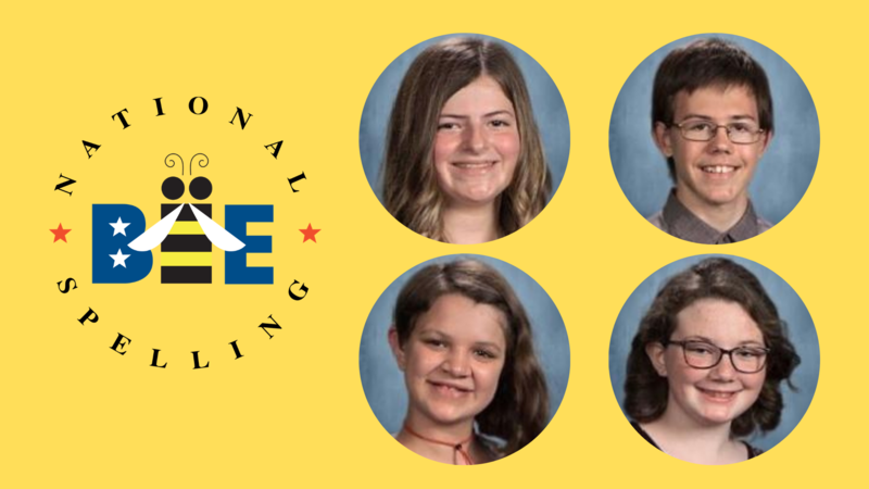 spelling bee logo with pictures of four students advancing.