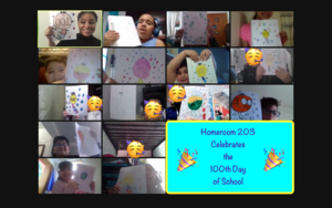 Zoom class showing 100 day drawings