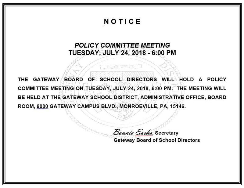 Notice of Policy Meeting