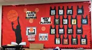 A  display in the Lee library gives a look at the March Book Madness contestants.
