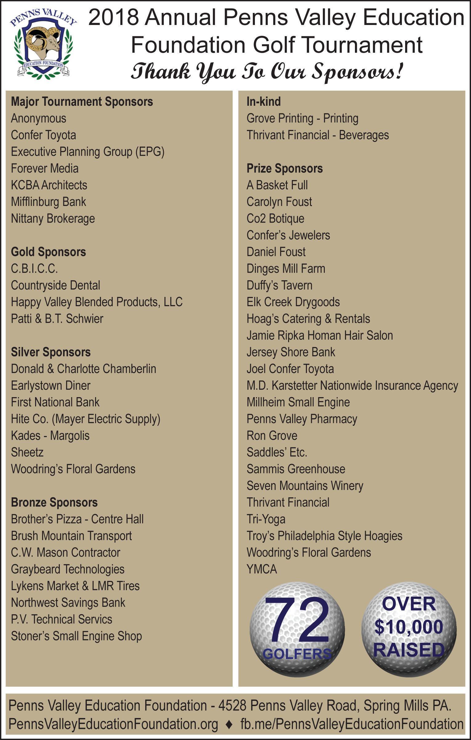 PVEF Golf Tournament Sponsors