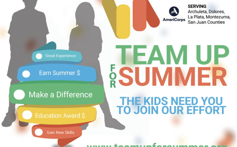 the text team up for summer, great experience, earn summer $, make a difference, education award $,  gain new skills on a multicolored logo in front of an image of two children