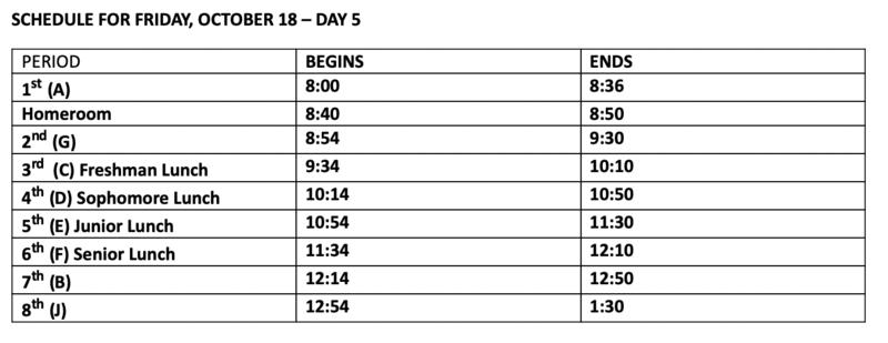 Shortened Schedule on 10/18 Featured Photo