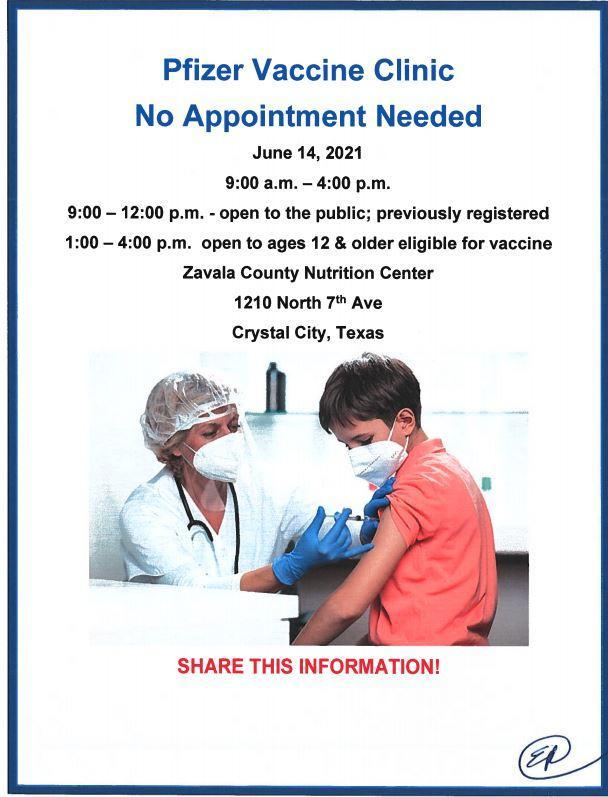 June 14 Vaccination Drive for Ages 12+ Featured Photo
