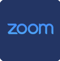 Blue Square with the word Zoom
