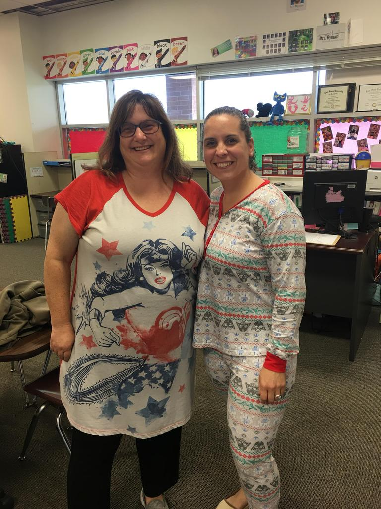 Mrs. Keifer and Mrs. Bynum pajama day