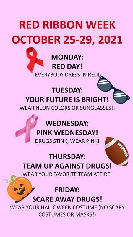 Red Ribbon Week October 25-29, 2021