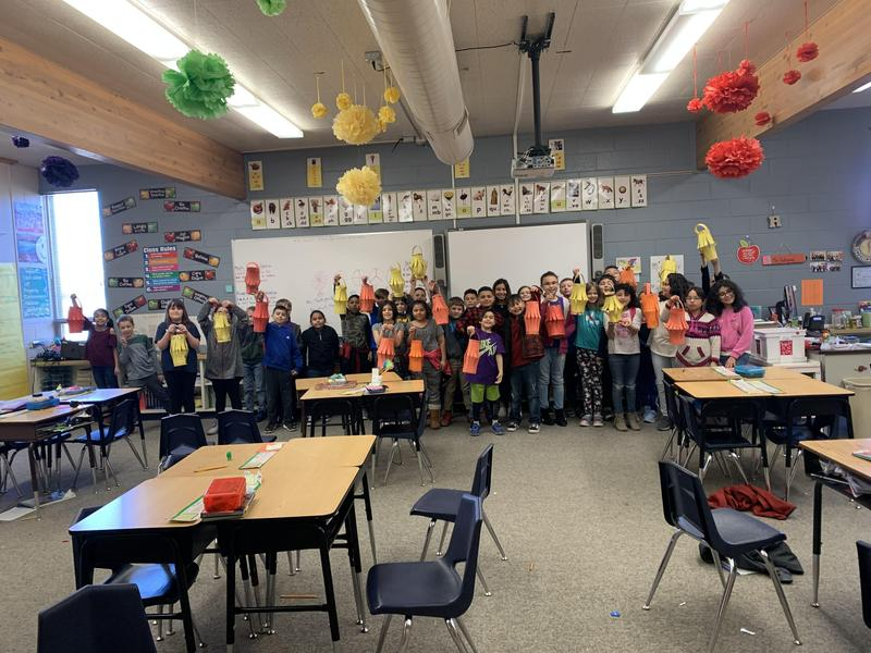 Students created Chinese lanterns.