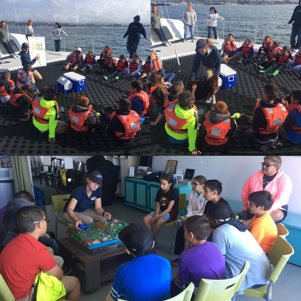 5th grade students on the ocean in Monterrey Bay & learning at the Aquarrium