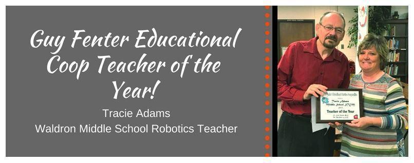 Guy Fenter ESC Teacher of the Year, Tracie Adams, WMS Robotics Team teacher, picture of teacher holding the award
