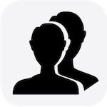icon for substitute request form showing silhouette of two people